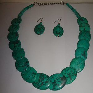 Dyed Howlite Oval Beaded Necklace & Earrings